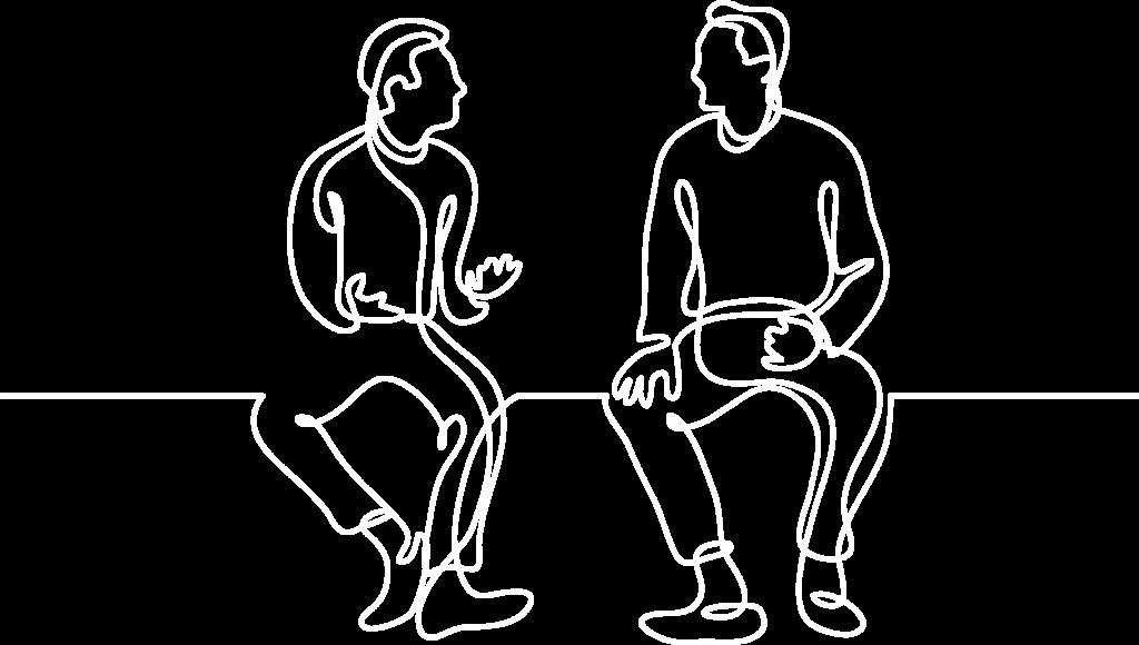 einzelcoaching continuous line art mit zwei Personen im Gespräch